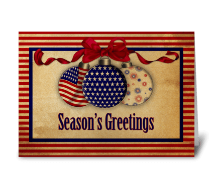 Patriotic Holiday Ornaments Vintage Look greeting card