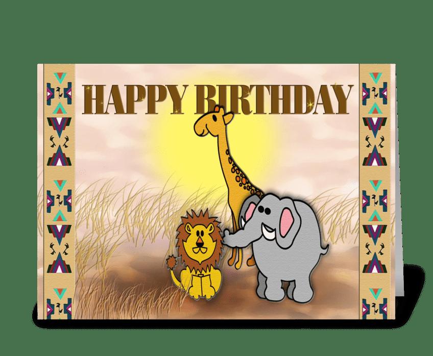 safari animals, Happy Birthday greeting card