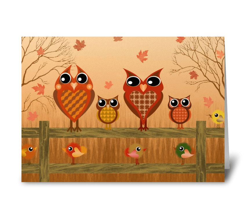 Autumn Owls  greeting card