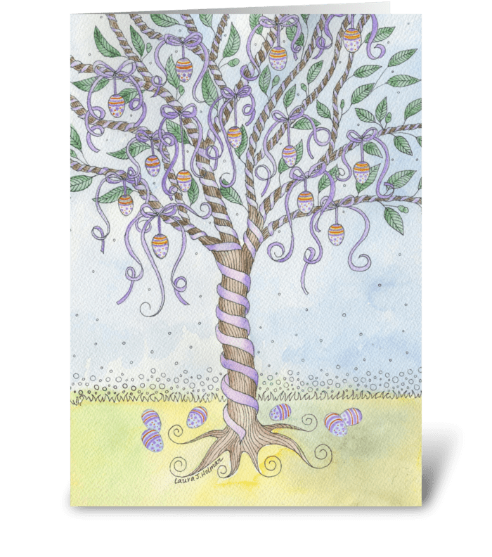 Happy Easter Egg Tree greeting card