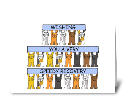Speedy recovery get well cute cats. greeting card