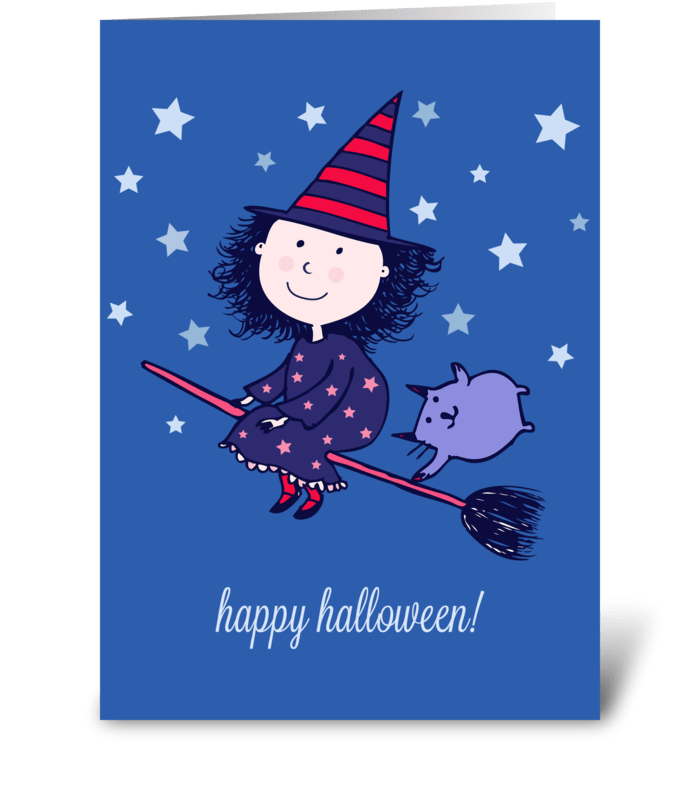 Lovely Little Witch Halloween Card greeting card
