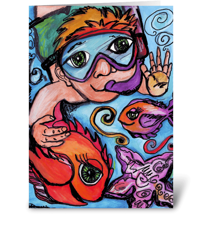 Swimming with the Fishies greeting card