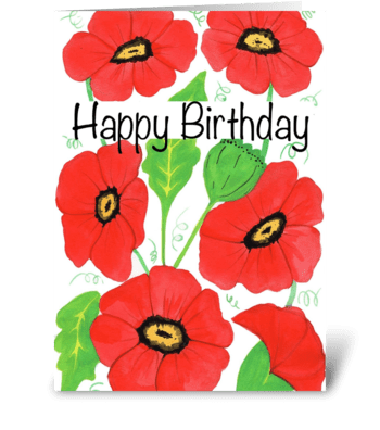 Red Poppy Birthday greeting card