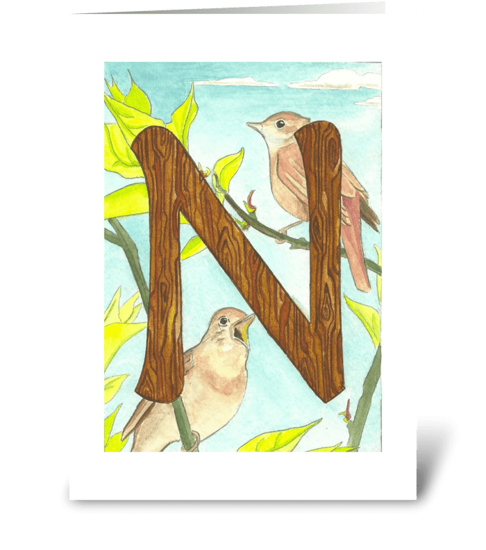 N for Nightingale greeting card