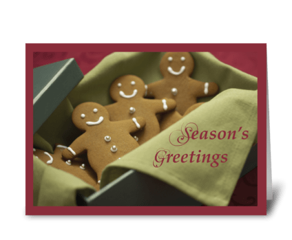 Gingerbread Men, Christmas Season greeting card