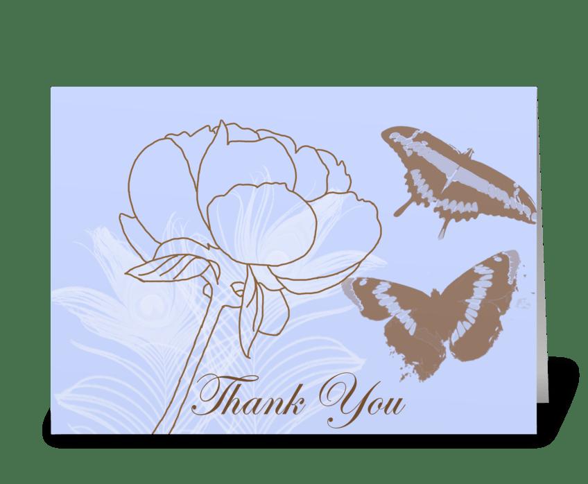Peony & Butterflies greeting card