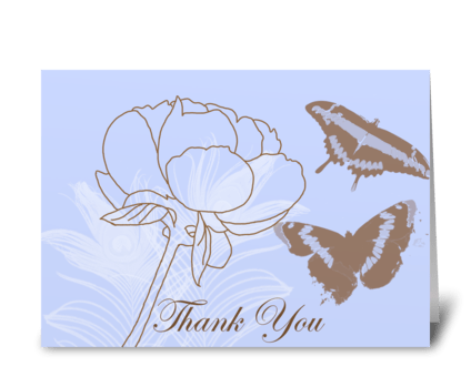 Peony & Butterflies greeting card