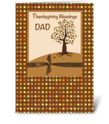 Dad,Thanksgiving Blessings Dots on Brown greeting card
