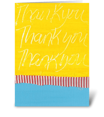Thank You Painting - Yellow on Blue greeting card