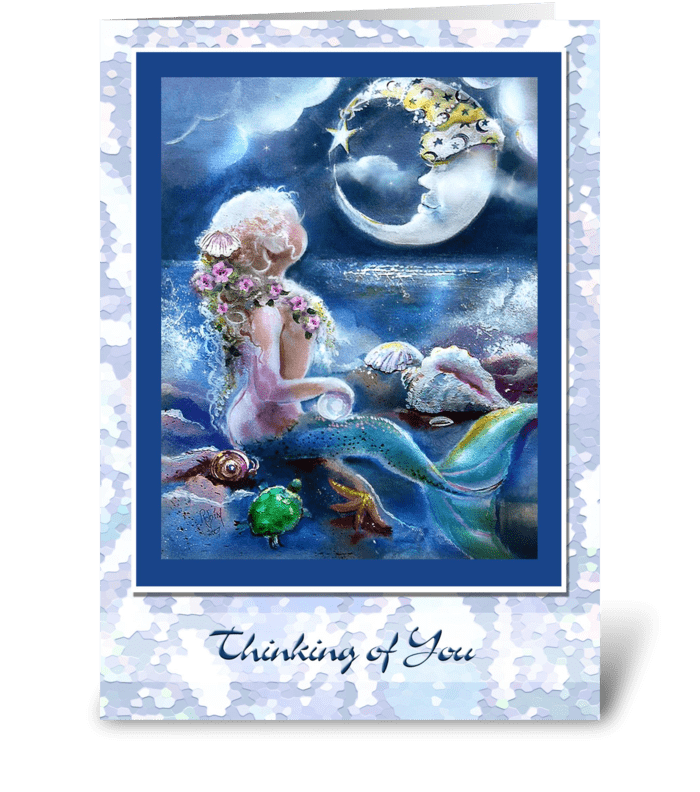 Thinking of You, Mermaid themed greeting greeting card