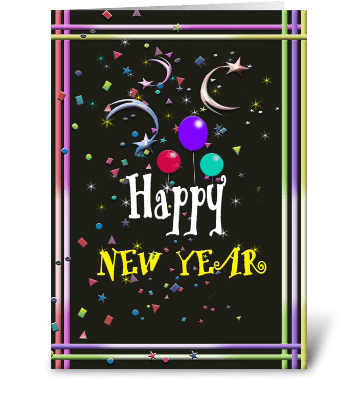 Happy New Year, Festive Art greeting card