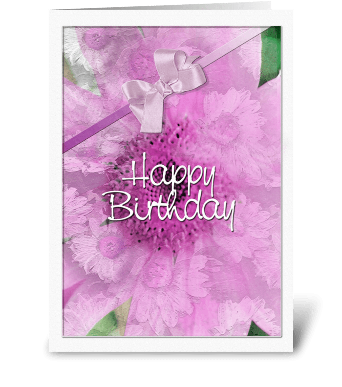 pink Daisy Design, Happy Birthday greeting card