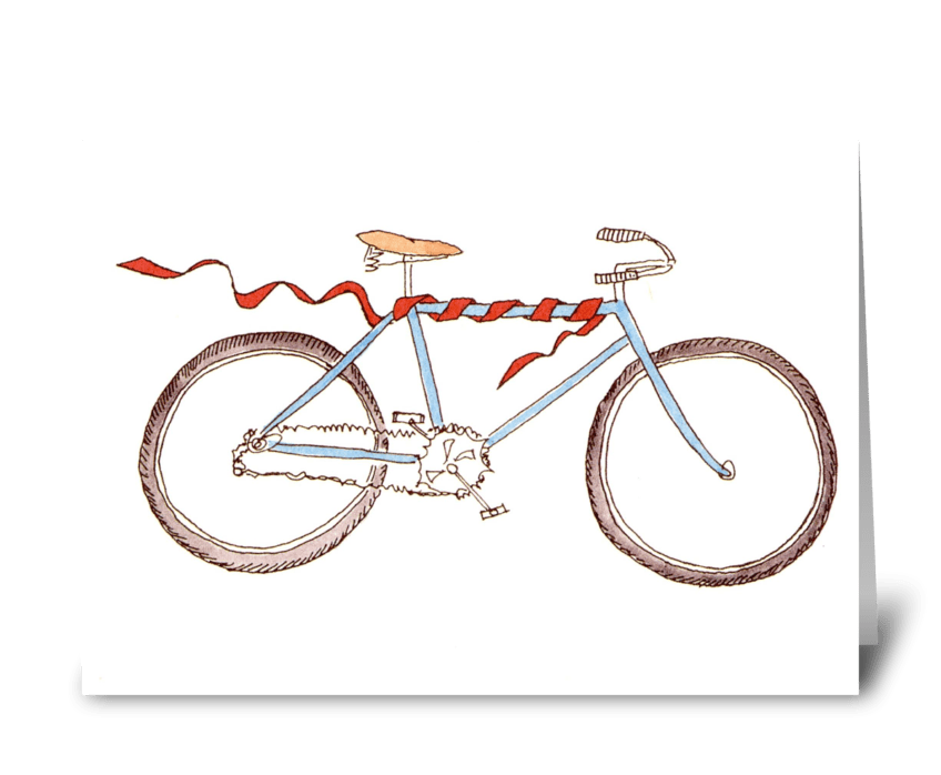 bicycle with ribbon greeting card