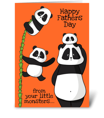 Fathers Day 3 Pandas greeting card
