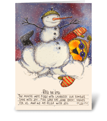 Snowman fight greeting card