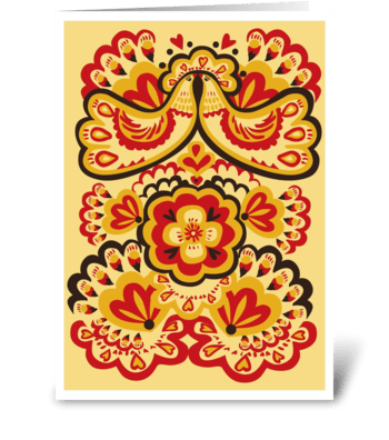 Floral_folk-kissing-birds greeting card