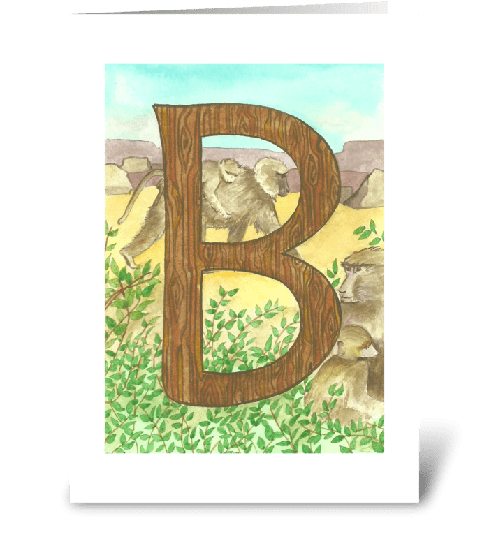 B for Baboon greeting card