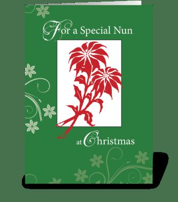 Nun, Christmas Poinsettias greeting card