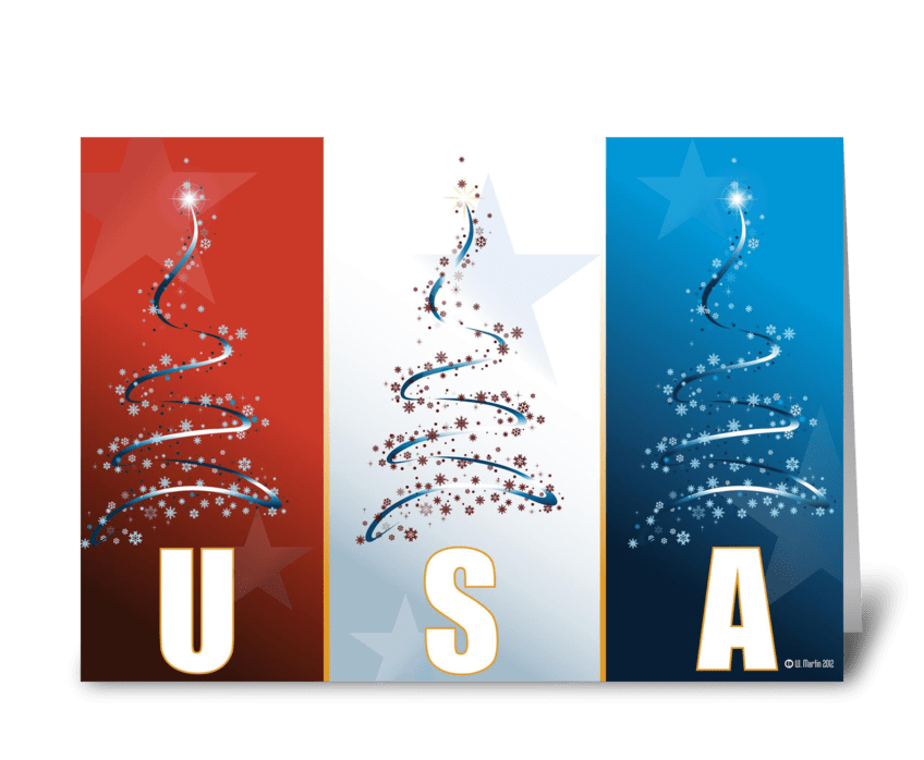 red white blue patriotic christmas card greeting card - Patriotic Christmas Cards