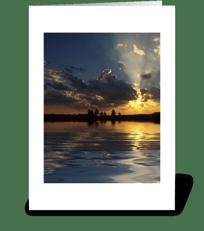 Lakeside Sunset greeting card