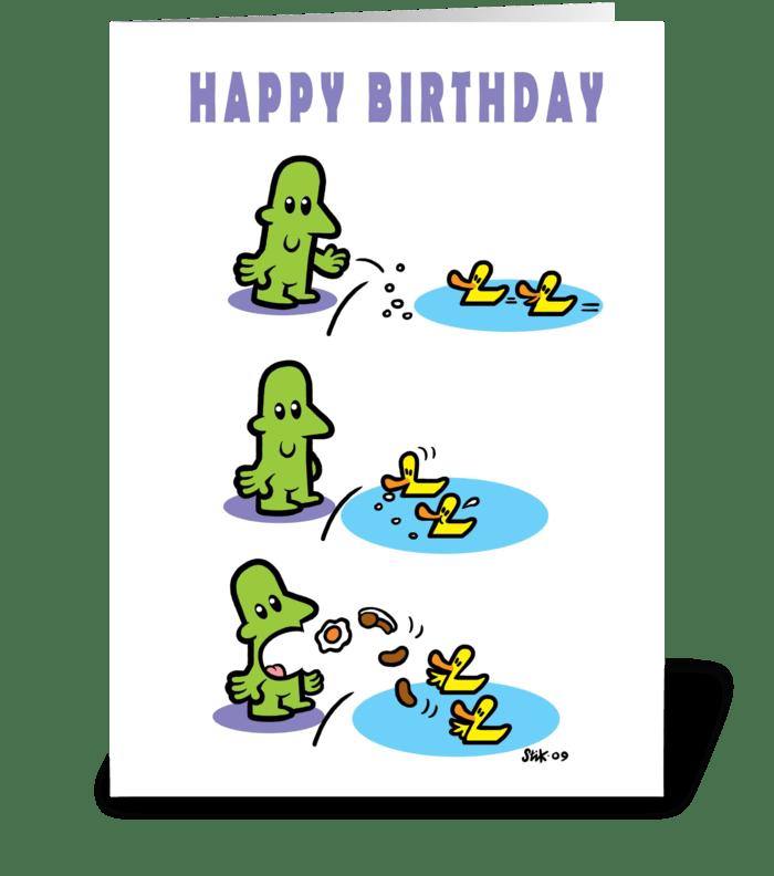 Feeding Ducks Feeding Back card. greeting card