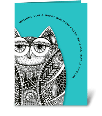 Happy Birthday Owl greeting card