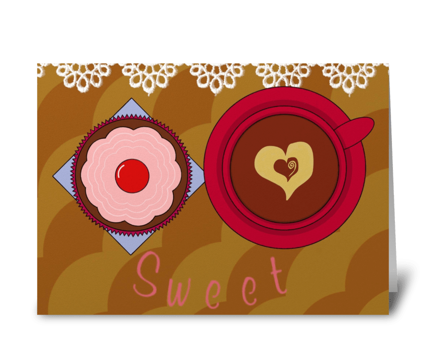 Cupcake & Coffee greeting card