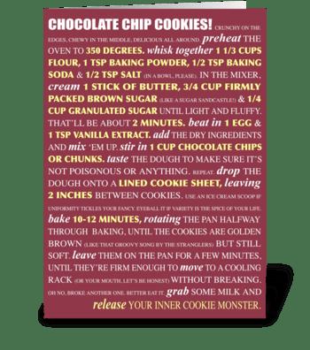 Bakeable Greetings: Choc. Chip Cookies greeting card