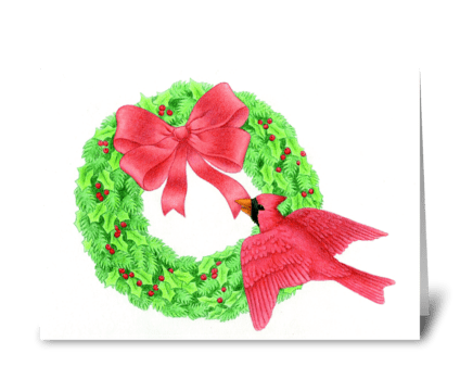 Cardinal and Wreath greeting card