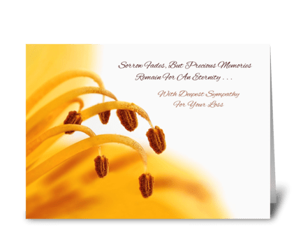 Sympathy Precious Memories Yellow Lily  greeting card