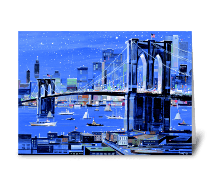 Brooklyn Bridge by Albert J. Pucci greeting card