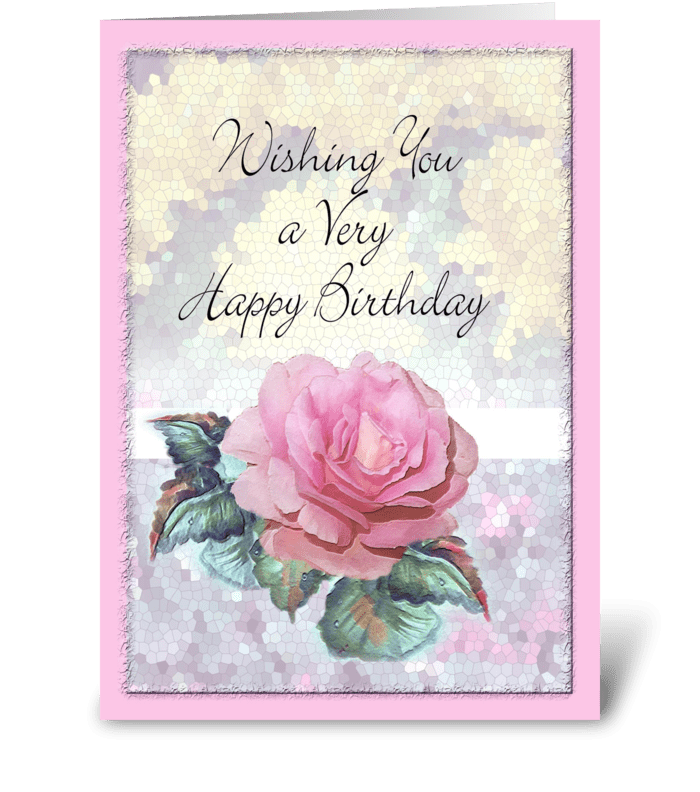 PINK Rose, Birthday Wishes greeting card