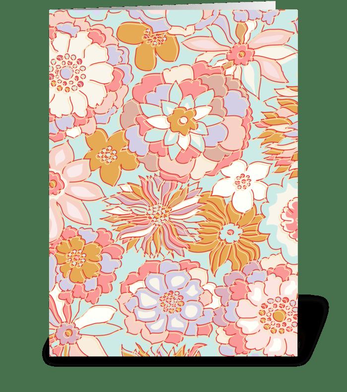 Sweet Retro Flowers greeting card