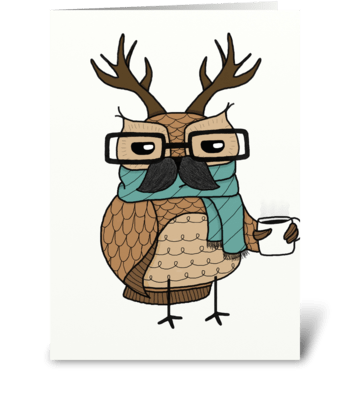 hipster owl greeting card