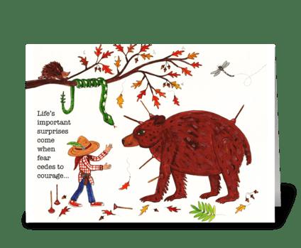 boy and bear greeting card