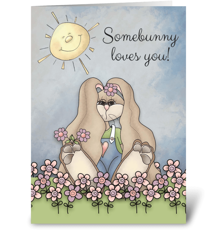 Somebunny Loves You! Easter Bunny in flo greeting card