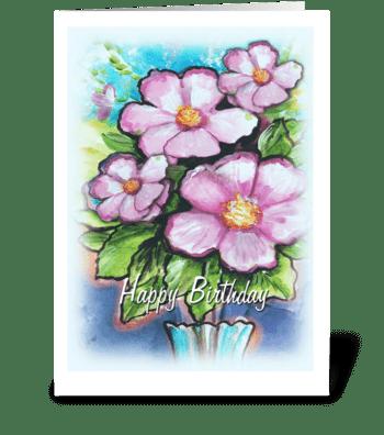 Flowers, Happy Birthday greeting card