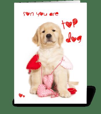 Top Dog Son Valentine Card greeting card