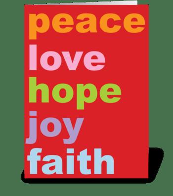 peace love hope joy faith greeting card