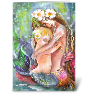 Loving Mermaid Mother and Child greeting card