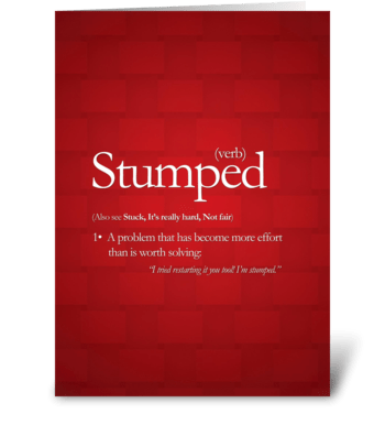 Stumped greeting card