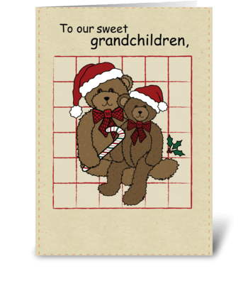 Grandchildren Christmas Bears greeting card
