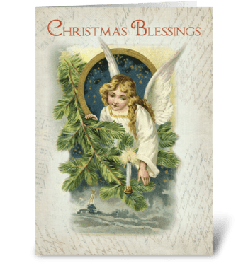 Vintage Religious Christmas Angel greeting card