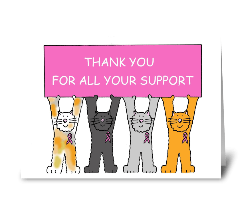 Pink Ribbon Thank You For Your Support Send This Greeting Card