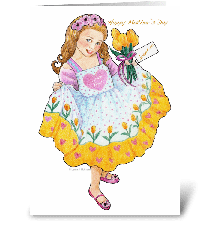 Grandma Mother's Day Girl with Tulips greeting card