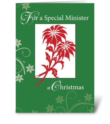Minister, Christmas Poinsettias greeting card