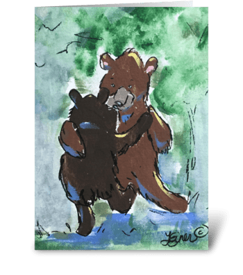 Waltzing Bears greeting card