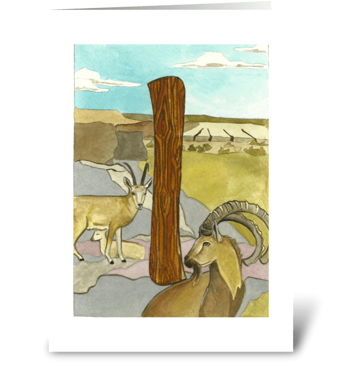 I for Ibex greeting card