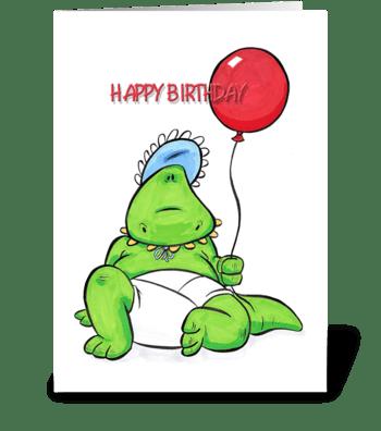 Baby Dino, Happy Birthday greeting card